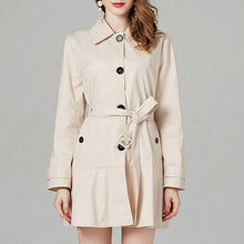 Prettymia Plain Falbala Lapel Long Sleeve Trench Coat