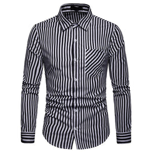Prettymia Stripe Casual Long Sleeves Men's Shirt