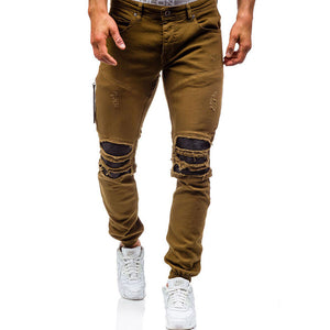 Prettymia Long Pants Hole Casual Cotton Zippered Men's Jeans