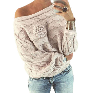 Prettymia Pullover Slash Neck Printed Cotton Sweaters