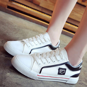 Prettymia Lace Up Flat Casual Canvas Shoes