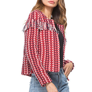 Prettymia Tassel Jacquard Weave Long Sleeve Coat