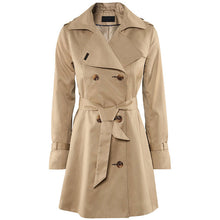 Prettymia Double-Breasted Lapel Slim Brief Trench Coat
