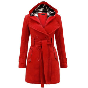 Prettymia Single-Breasted Grid Turn-down Collar Woolen Coat