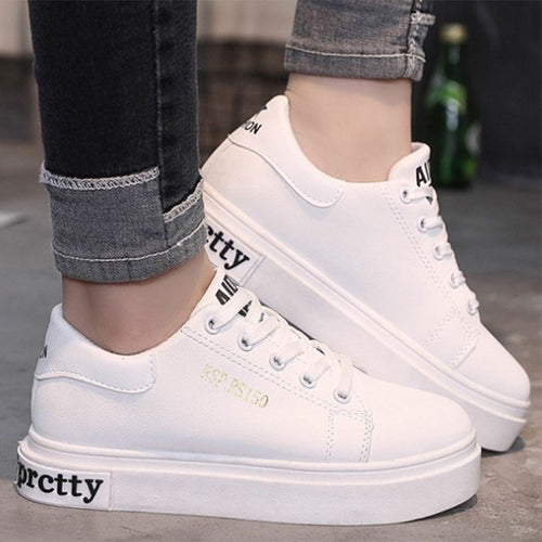 Prettymia Round Toe Soft Surface Lace Up Sneakers