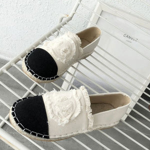 Prettymia Weave Canvas Slip On Loafers