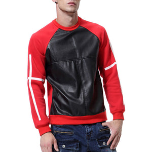 Prettymia Round Neck Color Block Cotton Blends Men's Hoodies