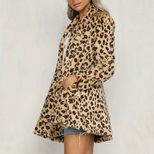 Prettymia Leopard Long Sleeve Cardigan Mohair Jackets Coat
