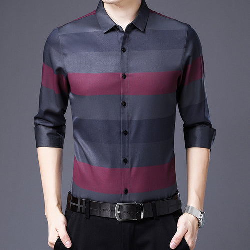Prettymia Business Lattice Thin Printing Men's Shirt