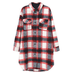 Prettymia Plaid Lapel Long Sleeve Woolen Coat