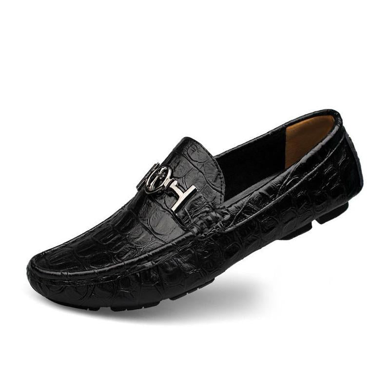 Prettymia Big Size Alligator Soft Leather Loafers Mens Shoes