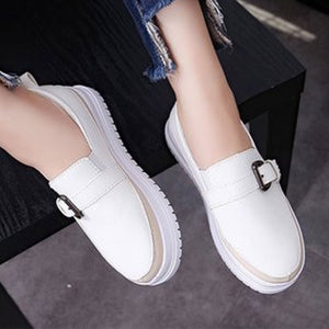 Prettymia Plain Round Toe Buckle Loafers