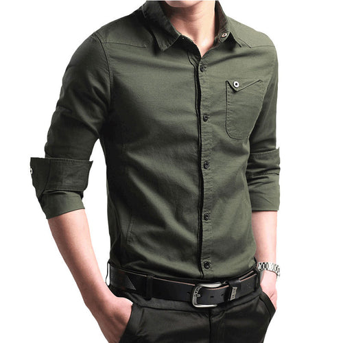 Prettymia Long Sleeve Pocket Pure Color Cotton Men's Shirts