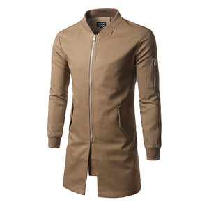 Prettymia Stand Collar Plain Casual Zippered Cotton Blends Men's Trench Coat