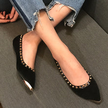 Prettymia Metal Rivet Pointed Toe Flat Loafers