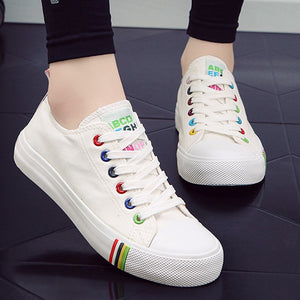 Spring Breathable Lace Up Canvas Shoes