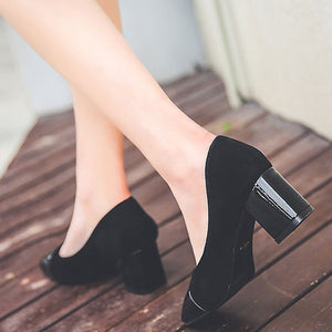 Prettymia Square Toe Slip On Chunky Heels