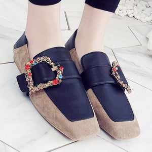 Prettymia Plus Size Rhinestone Square Toe Loafers