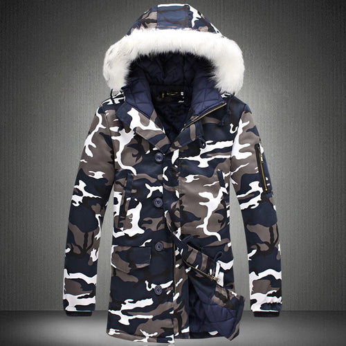Prettymia Cotton Camouflage Hooded Polyester Men's Down Coat