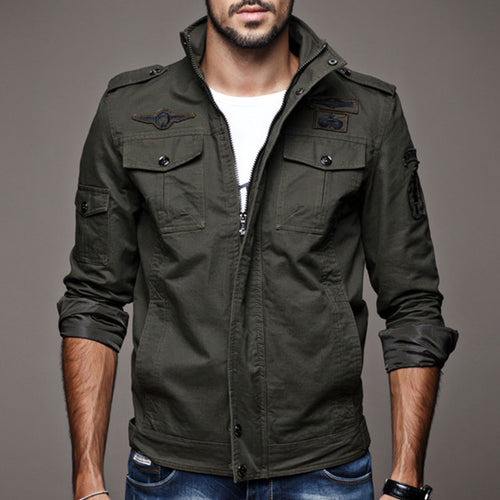 Prettymia Pure Cotton Slim Casual Zippered Men's Jacket