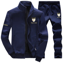 Prettymia Embroidery Collar Zipper Cardigan Men's Sports Suits