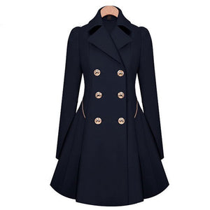 Prettymia Slim Single-Breasted Long Sleeve Trench Coat