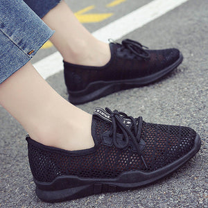 Prettymia Hollow Mesh Breathable Lace Up Casual Running Shoes