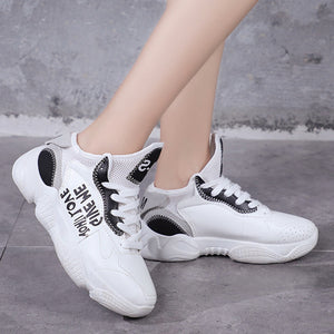 Prettymia Sport Round Toe Lace Up Platform Sneakers