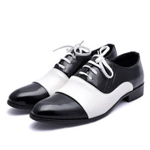 Prettymia Stitching Lace Up Point Toe Men's Oxfords