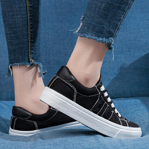 Prettymia Comfortable Round Toe Lace Up Casual Canvas Shoes