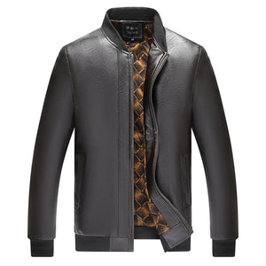 Prettymia Glossy Stand Up Collar Soft Men's Leather Coat