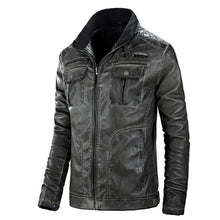 Prettymia Long Sleeve Casual Pocket Zippered PU Stand Collar Men's Leather Coat