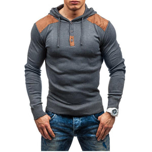 Prettymia Knitted Sweater Pure Color With Hoodie Men's Outerwear
