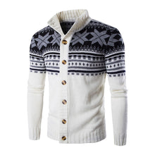 Prettymia Stand Collar Stripe Floral Woolen Men's Sweater