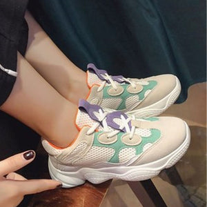 Prettymia Breathable Mesh Round Toe Lace Up Platform Sneakers