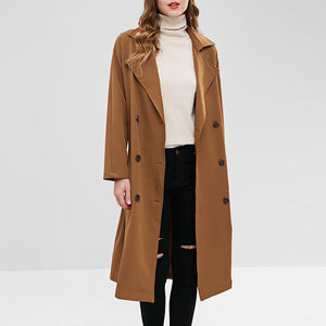 Prettymia Plain Lace Up Long Sleeve Cotton Trench Coat