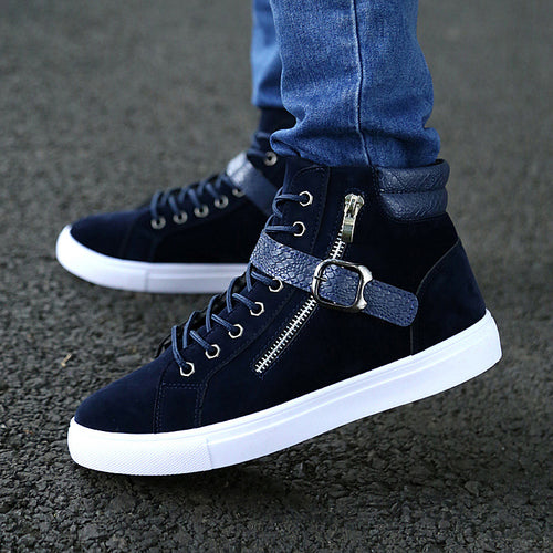 Prettymia Belt Buckle High Help Leisure Men's Casual Shoes