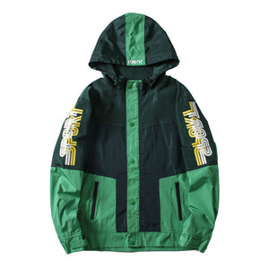 Prettymia Letter Zipper Hooded Polyester Print Men's Jackets Coat