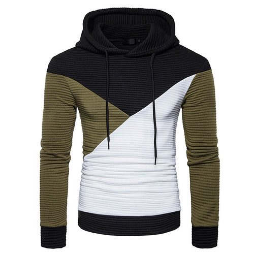 Prettymia Hooded Color-blocked Asymmetric Pleated Men's Hoodies
