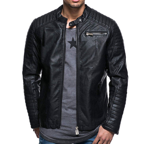 Prettymia Pure Color Stand Collar Men's Artificial Leather Jacket
