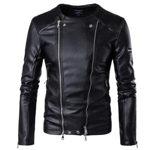Prettymia Long Sleeve Punk Hip Hop Casual Men's Leather Coat