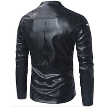 Prettymia Cotton Blends Slim Zippered Men's Leather Coat