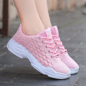 Prettymia Lace Up Round Toe Breathable Sneakers