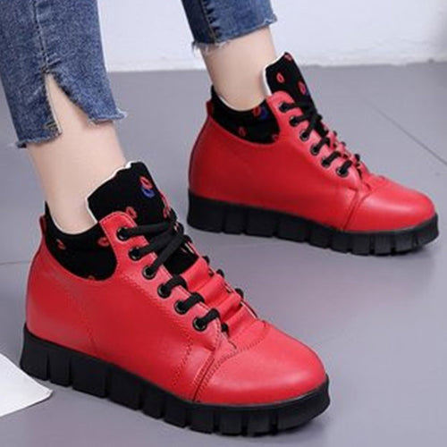 Prettymia Round Toe Lace Up Rubber Sneakers