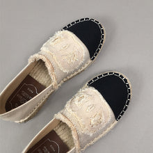 Prettymia Canvas Slip On Stitching Flat Loafers