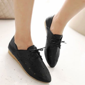 Prettymia  PU Round Toe Slip On Loafers