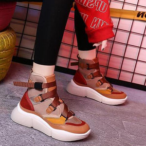 Prettymia High Top Breathable Mesh Round Toe Buckle Platform Sneakers