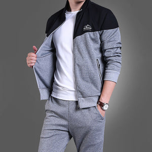 Prettymia England Comfortable Hit Color Outdoor Men's Sports Suit