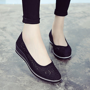 Prettymia Breathable Hollow Slope Heel Casual Loafers
