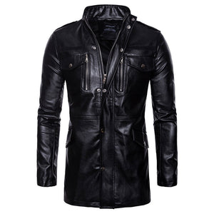 Prettymia Stand Collar Zippered Tight Pure Color PU Men's Leather Coat